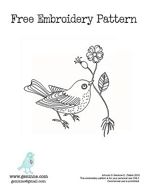 Geninne's bird embroidery pattern