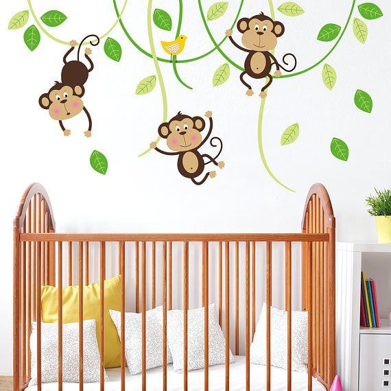 Three Monkeys On Swings Wall Sticker  Monkey Tree Children