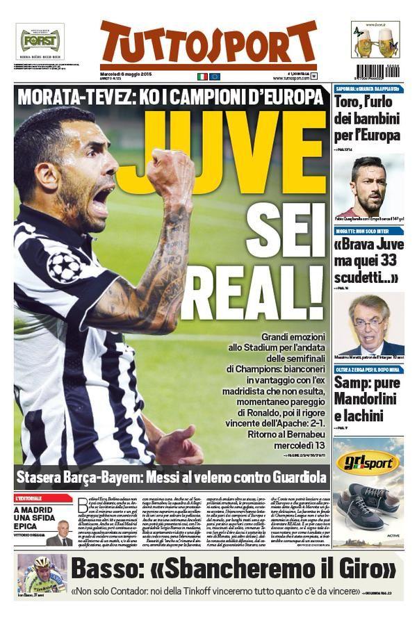 Juventus-Real Madrid 2-1: copertine giornali, foto e immagini divertenti | Notiziein.it