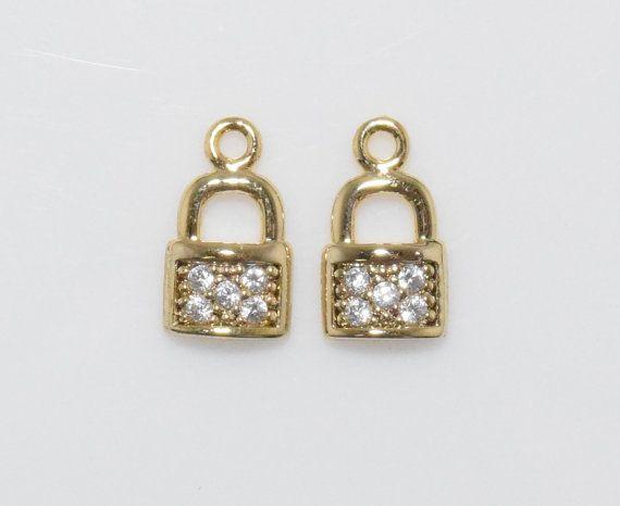 Lock Cubic Pendant, Jewelry Supplies, Jewelry Making, Polished Gold - 2pcs / UT0010-PG