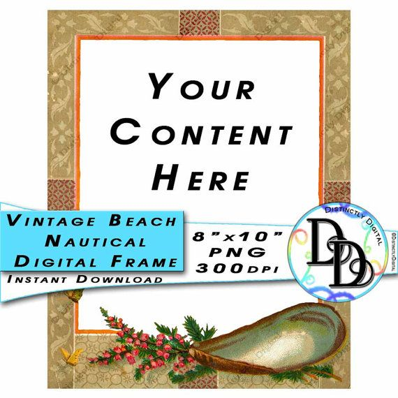 Beach Digital Frame Vintage Nautical Printable Border Scrapbook Photo Album Page Commercial Use Graphic Clip Art Instant Download by DistinctlyDigital on Etsy