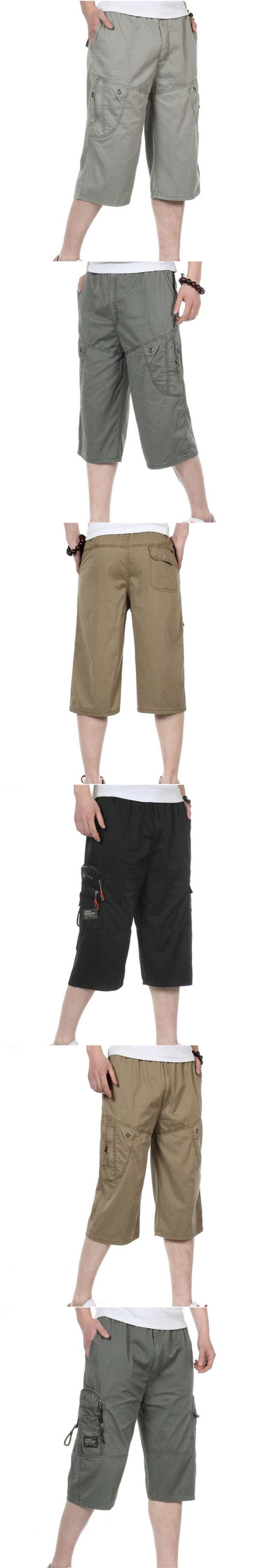 Summer Men's Multi Pocket Casual Short Pants Big Size Male European Style Loose European Style  Beach Short Pants For Men  A3726