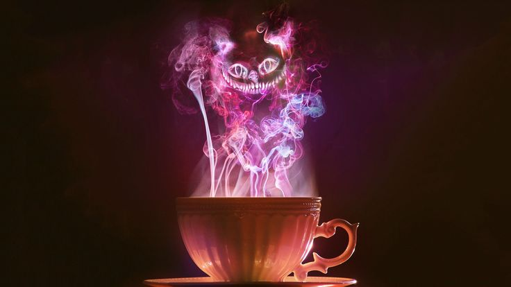 steam cats tea smoke purple Alice Cheshire Cat Wallpaper