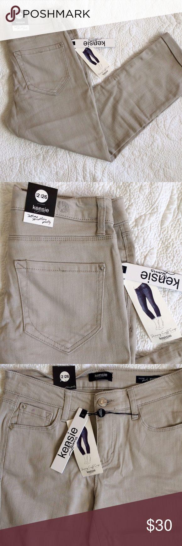 Kensie Jeans Taupe Skinny Cuff Crop NWT - Kensie Jeans NWT - Skinny Cuff Crop  - Size 2 Waist 26 - Inseam length pictured - Cotton/Spandex blend - No Trades Kensie Jeans Ankle & Cropped