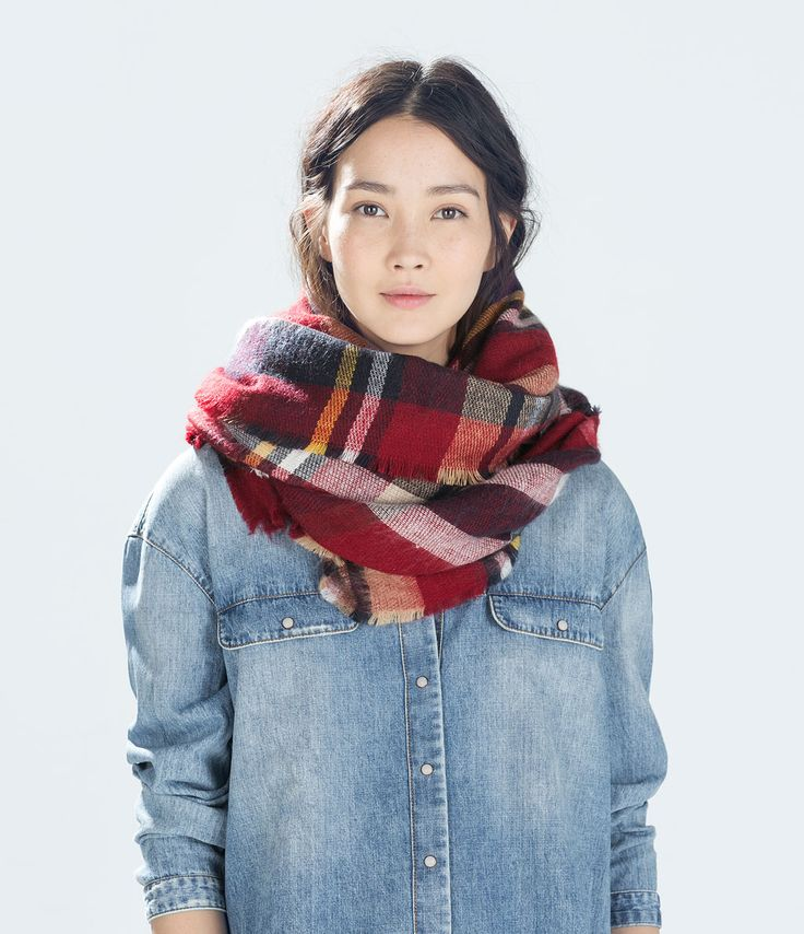 CHECKED SCARF - Scarves - Accessories - WOMAN | ZARA Czech Republic 600,-
