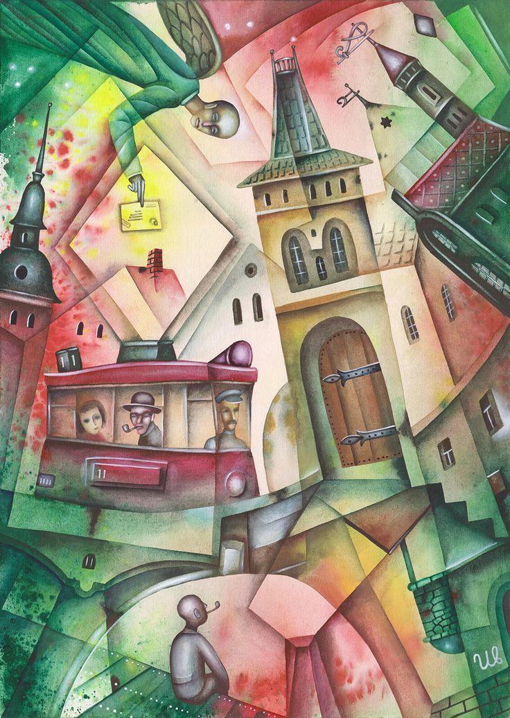 Secret Message by Eugene Ivanov, watercolor, 2013. #eugeneivanov #cubism #cubism art #art #surrealism #tram #@eugene_1_ivanov