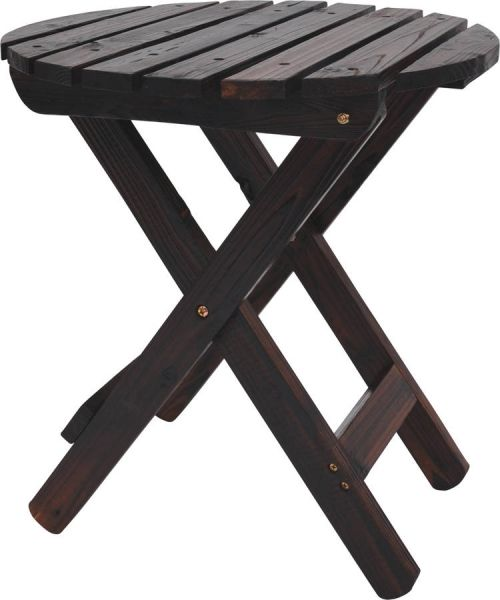 Classic Burnt Brown Cedarwood Adirondack Round Outdoor Folding Table