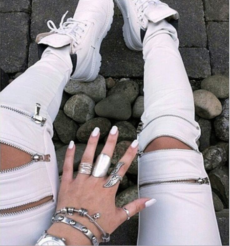 Zipper Hollow Out Skinny Slim Casual Pants