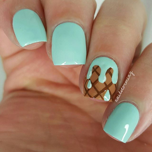 "Finally warm enough for ice cream =) and I go on vacation innnn 4 days !!!! AH too excited. Inspired by @sensationails4u and @kellimarissa - - Products used: Base: ""Going My Way Or Norway"" OPI Mint: ""Mint Candy Apple"" Essie Other details: acrylic paint Top coat: HK girl @glistenandglow1"