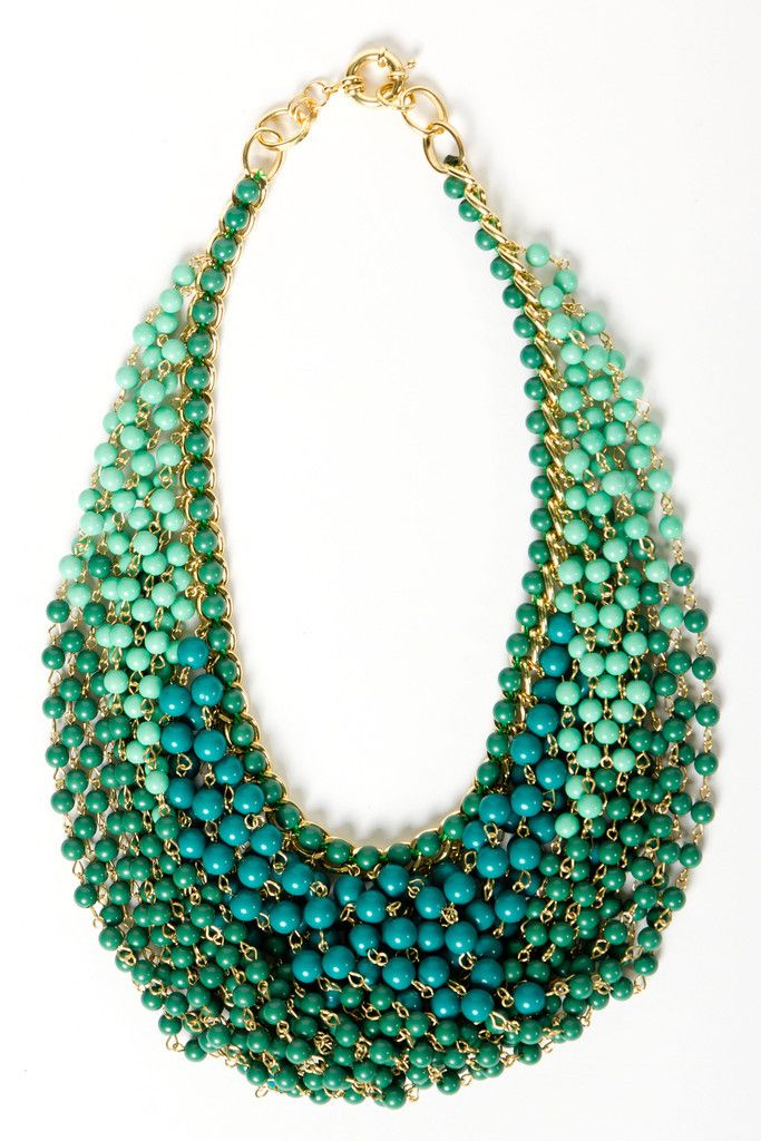 Teal Draped Bead Necklace: Beaded Necklaces, Statement Necklaces, Beads Necklaces, Draping Beads, Colors, Collars, Teal Draping, Bibs Necklaces, Bead Necklaces