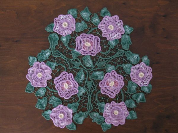 Romanian Point Lace Crochet - lavender and green