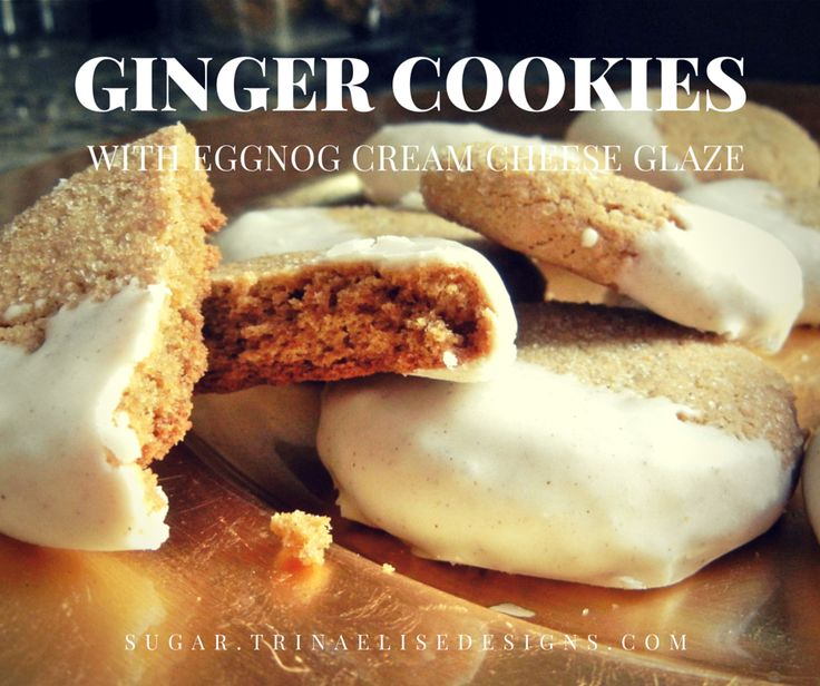 Sugar-coated, crunchy exterior + soft and spicy inside. This ginger cookie recipe gets a hint of holiday cheer when dipped in eggnog cream cheese glaze! #sugar. #gingercookie