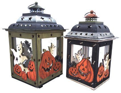 Halloween Candle Holder Lanterns with Spooky Ghosts, Smiling Pumpkins, & Spider Webs. Hand Painted on Glass, Wood, & Tin. Handmade Vintage Look Halloween Decor.