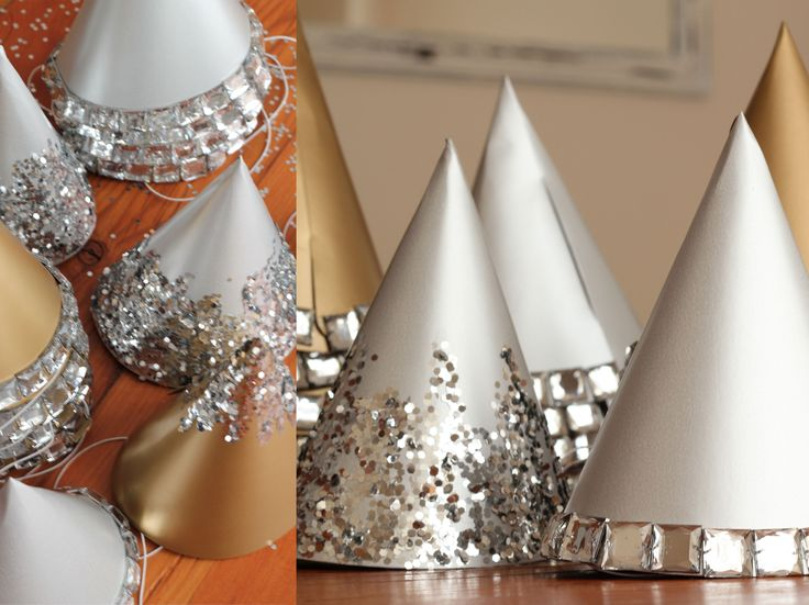 pretty party hats for the new year (see party hat template in Party Ideas board)
