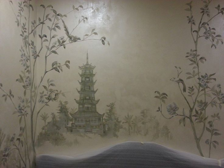 509 best chinoiserie images on pinterest chinoiserie for Chinoiserie mural wallpaper