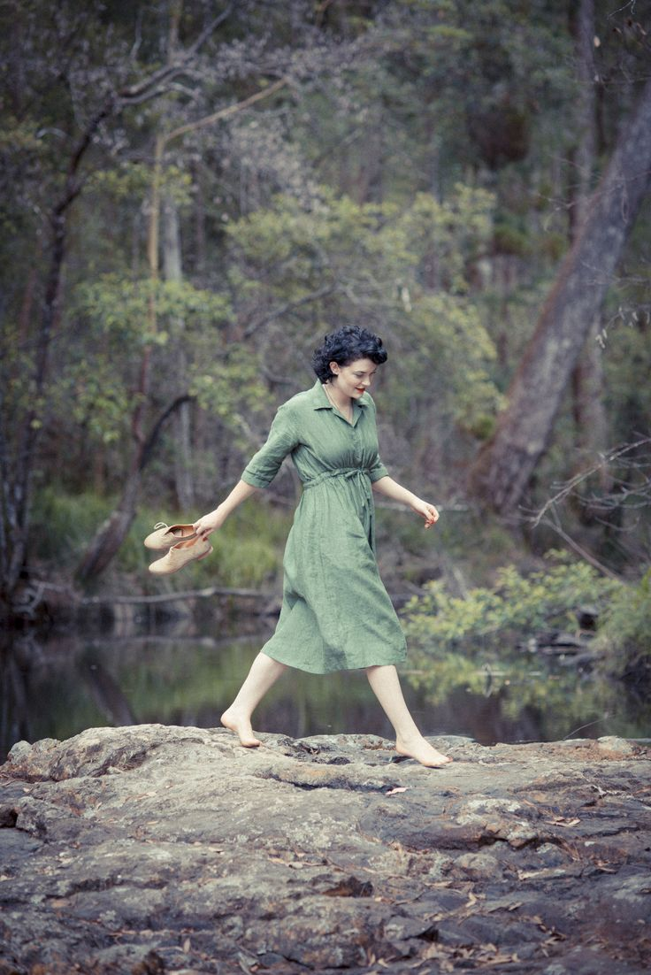 Bea dress in Forest LAZYBONES.COM.AU