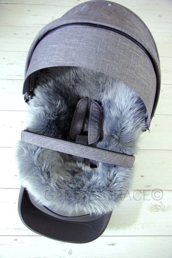 PLATINUM GRAY Stokke Style Lambskin / Sheepskin Stroller Liner by G&G for Xplory, Scoot, Crusi. Merino. Brand new.