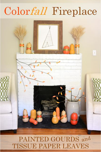 Fall Fireplace Mantel, Painted Gourds, leaves, iron and twine, diy playbook