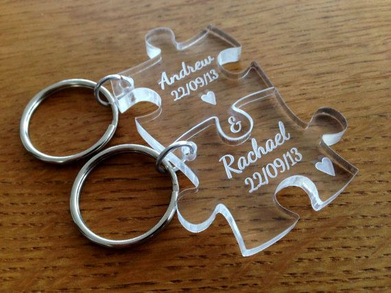 Personalised Valentines / Wedding Laser Cut Engraved Puzzle Piece Keyrings Gift / Present