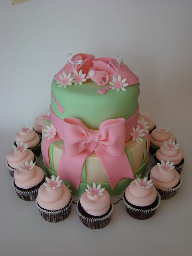 Baby Girl Cake and Cupcakes