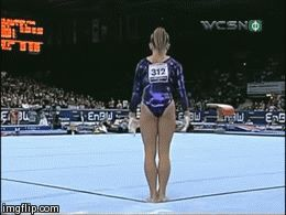 Shawn Johnson gif. 2007 World Championships Floor Exercise double double pass