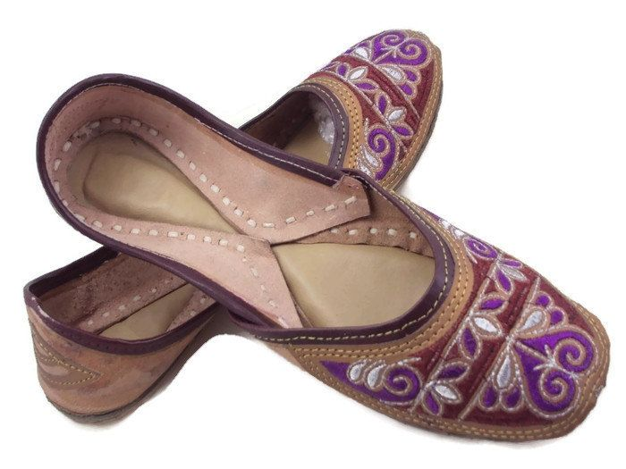Free Shipping shoe size usa 7 Multi Thread Embroidery Handmade  Party Wear Work Mojari Women Fashion Flats Khussa shoe Juti Jooti Juti by SILVERHUT on Etsy
