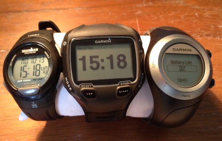 My running watches. Timex Ironman T5K608, Garmin Forerunners 910XT and 405.