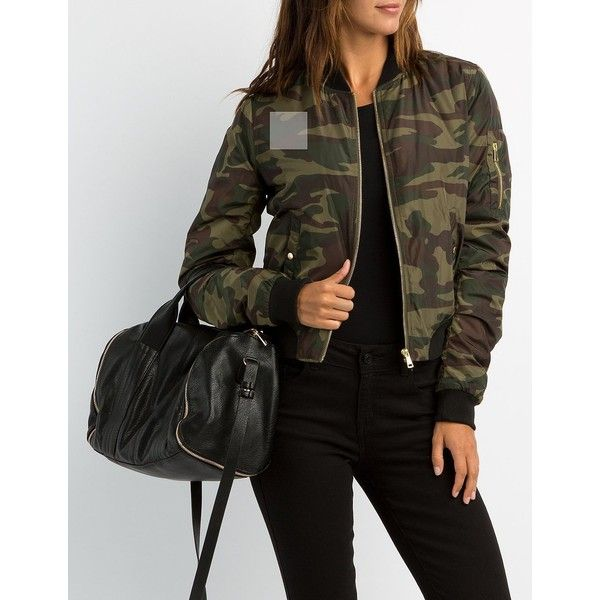 Charlotte Russe Camo Bomber Jacket ($39) ❤ liked on Polyvore featuring outerwear, jackets, olive combo, camouflage jacket, flight jacket, army green jacket, utility jacket and green military jacket