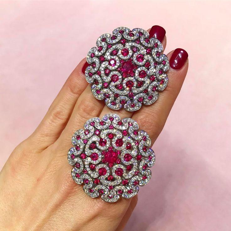 Beautiful Ruby and Diamond earrings @glennspirojewels #harrods