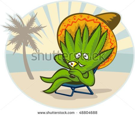 vector illustration of an Agave plant cartoon character wearing a sombrero hat drinking martini on the beach. #agave #cartoon #illustration