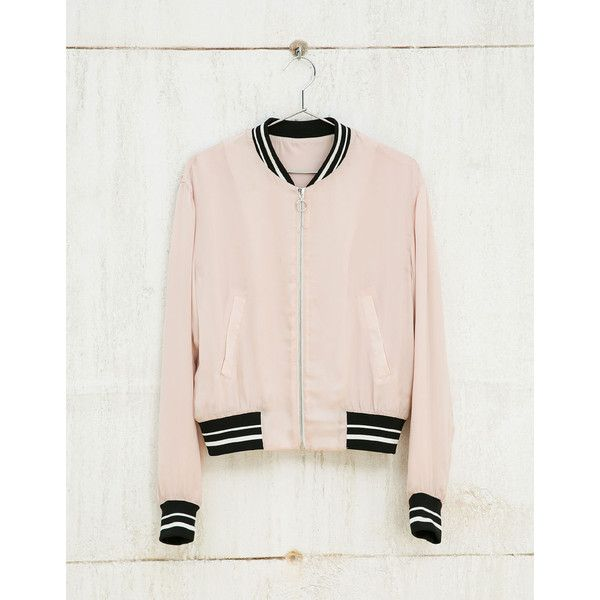Kombi-Bomber mit Ripp - Bomberjacken - Bershka Germany (620 MXN) ❤ liked on Polyvore featuring pink bomber jacket, pink jacket, bomber style jacket, blouson jacket and flight jacket