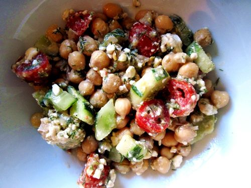 Chickpea cucumber tomato salad. Left out the cheese. Could add basil ...