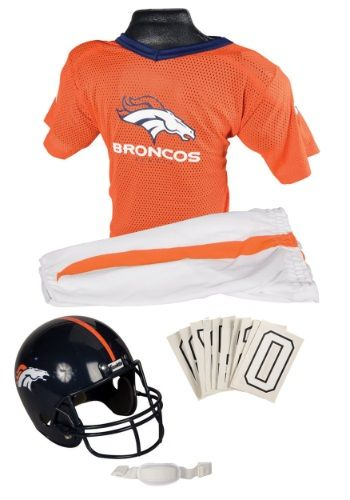 This licensed NFL Broncos Uniform Costume for boys from Franklin Sports is a great football costume for playtime!