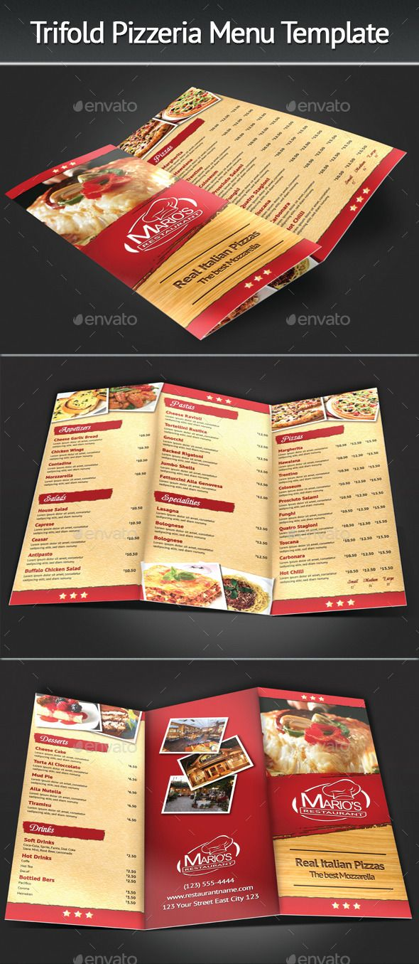 Trifold Pizzeria Menu Template Suitable for any restaurant and fast food business. Easy to move or change if required. Files are structured in folders and well named for easy editing. Change text, edit colors and move items. Easy to change logo and images.
