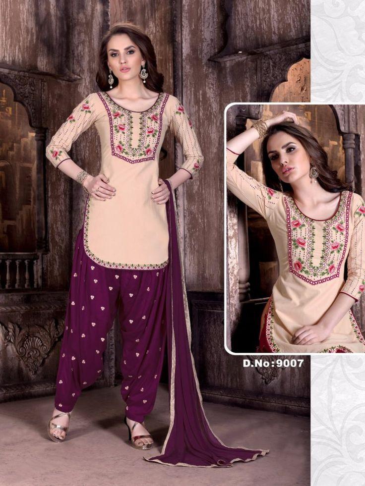 Click On Bazaar Cream and Purple Color Cambric Cotton Patiala Salwar Suit - ClickOnBazar  #onlinepatiala #designerpatialasalwar #patialasalwarsuits #designerpatialasalwar #clickonbazaarpatialasuits