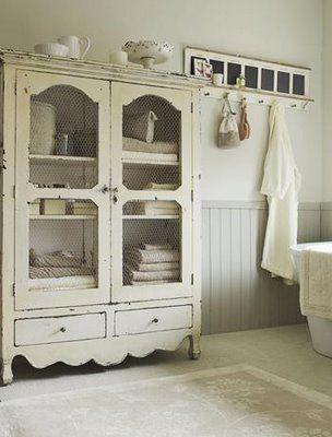 repurposed armoire for bathroom