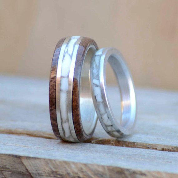 Wedding Engagement Bands Set - Stacking and Wedding Band, Dark Walnut and Elk Ivory (tooth) inlays. Stag Hound, Elk Head Design