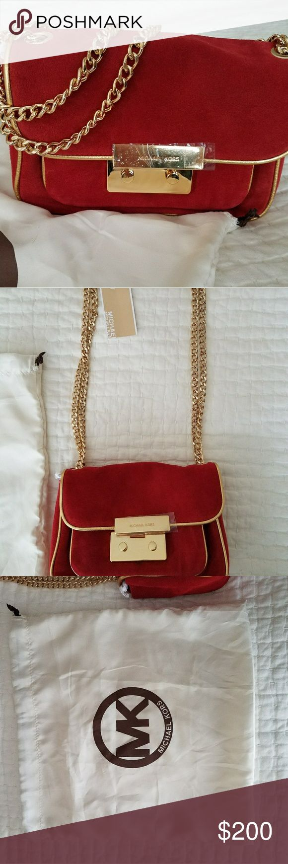 """Michael Kors Small Specchio Sloan Suede Bag NWT and original dust bag!    ?Red suede with gold trim. ?Black suede with gold trim  ?Golden hardware ?Link-chain shoulder strap ?Front flap with Michael Kors logo-engraved snap closure. ?Front exterior open pocket. ?Inside, contrast MK monogram lining, one open pocket, center zip compartment, one zip pocket and six card slots. ?5 1/2""""H x 8 1/2""""W x 2 1/2""""D.Imported.  There are two small discolorations; 1 just under the front snap closure, the…"""