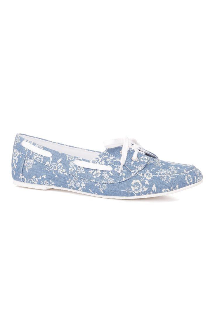 Primark - Sapatos de Vela Azuis Padrão Floral