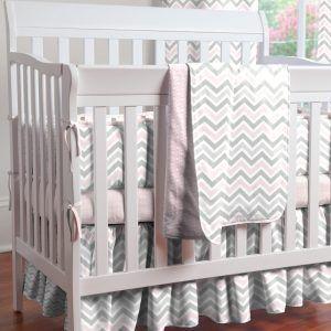 Grey And White Chevron Crib Bedding Set