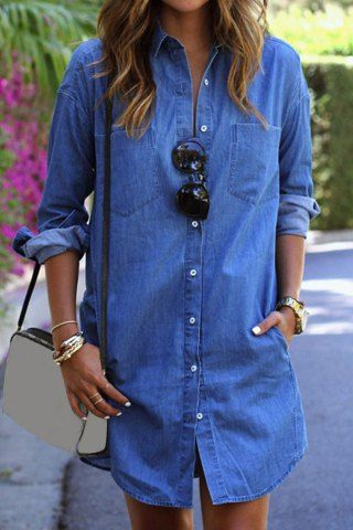 Sexy Shirt Collar Solid Color Straight Long Denim Shirt For Women