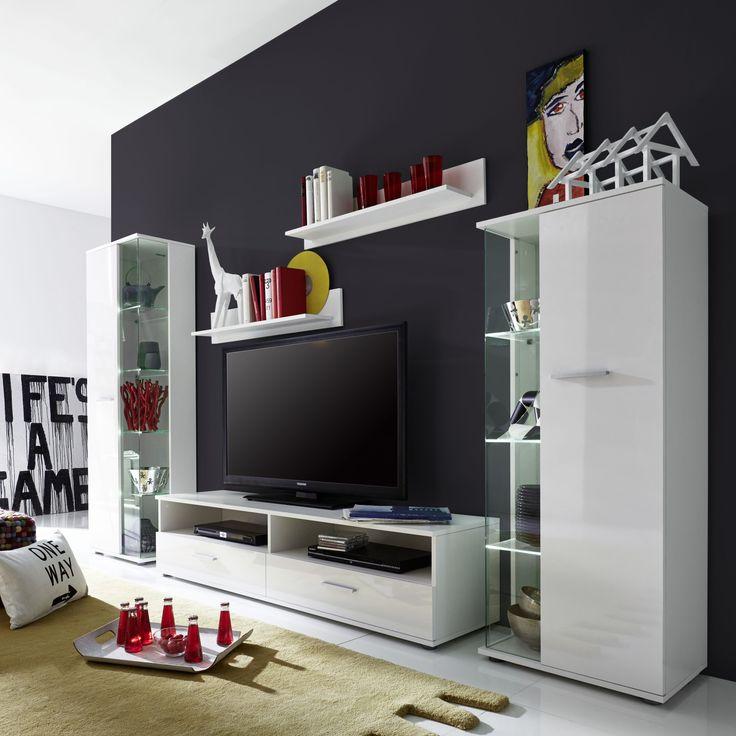 21 best Wohnwand Ideen \ mehr images on Pinterest Carpentry - moderner wohnzimmerschrank mit glastüren und led beleuchtung