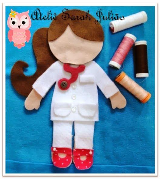Eu Amo Artesanato: Boneca médica de feltro com molde