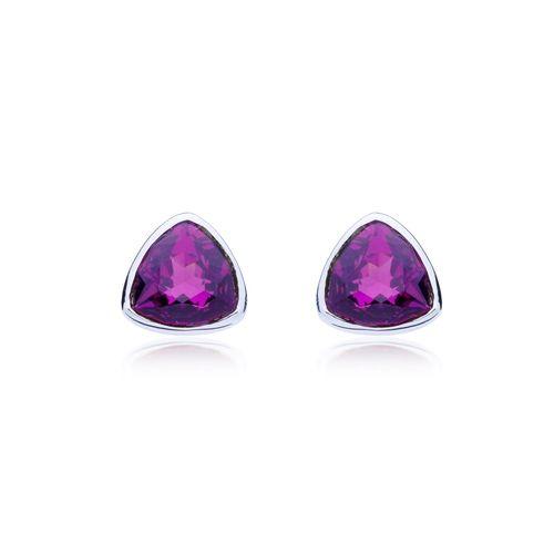 Trillion Brief Stud Earrings with Amethyst Swarovski® Crystals