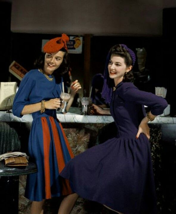 A rare color photograph of late 1940s styles.