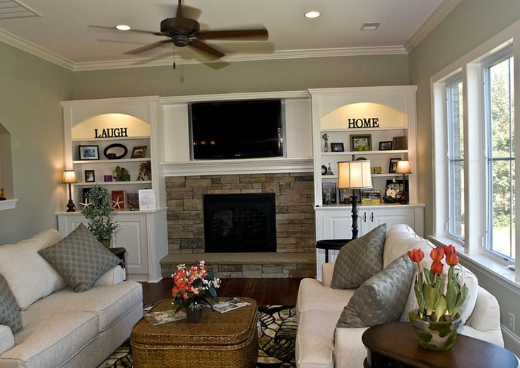 Tv above fireplace love the shelves do go with it too - Family room ideas with tv ...