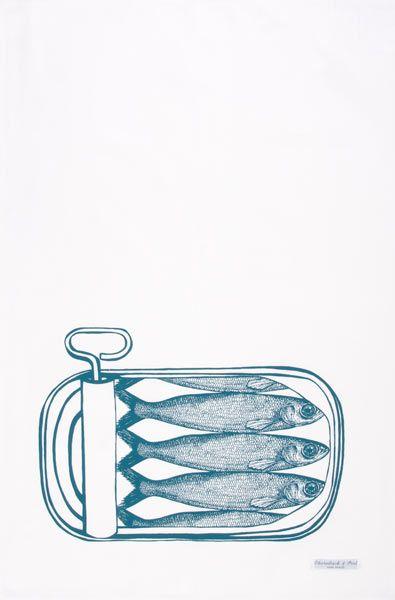 'Sardines' tea towel by Thornback and Peel