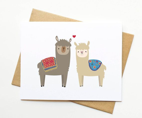 Alpacas Llamas Valentine's Day Wedding Love by LeTrango on Etsy