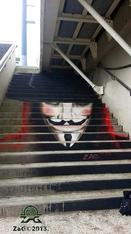 Street art in Brest (Recouvrance bridge / Pont de Recouvrance), France, by ZAG. Photo by ZAG MATCH.