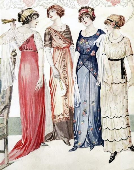 Evening dresses, 1913, source unknown
